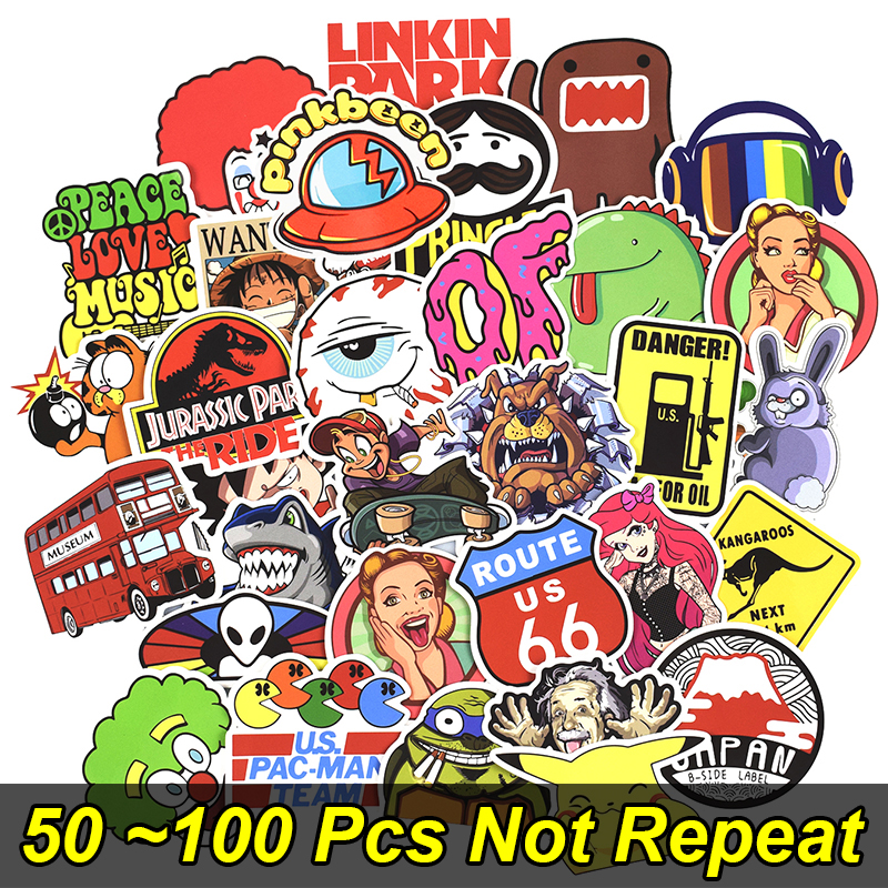 купить Hot 50-100 PCS Mix Stickers for Laptop Skateboard Luggage Car Styling Bike JDM Doodle Decals Cool Waterproof Sticker as Picture