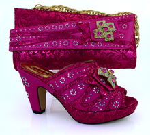 Free Shipping,Fashion style, Italian Shoes And Bags To Match,fuchsia Design With Plenty Stones Matching Shoes And Bag Set VB1-85
