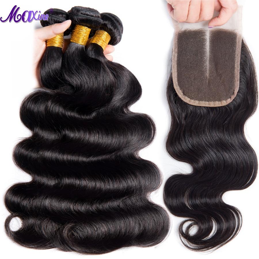 Brazilian Body Wave With Closure 3 Bundles Maxine Hair Weave Bundle Non Remy 4 Pcs Lot