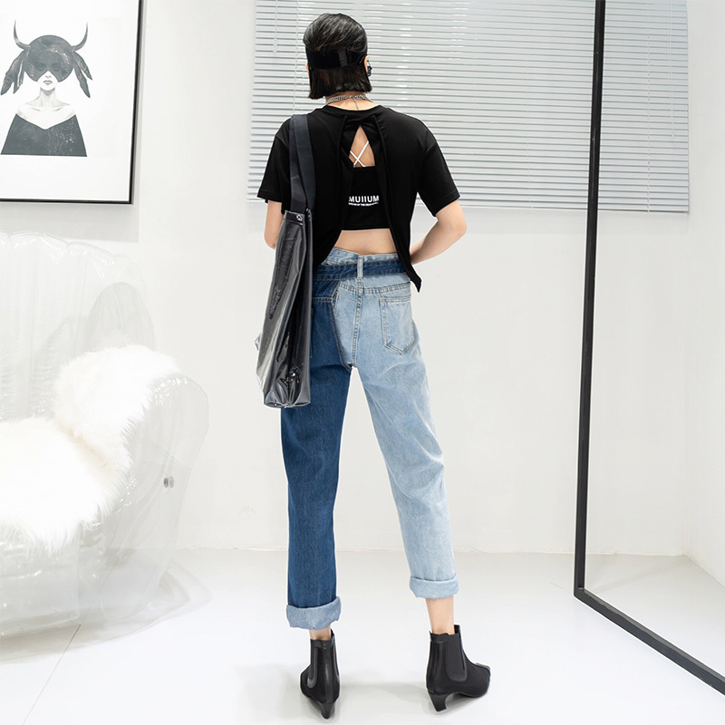 [EAM] New Spring 19 Fashion High Waist Patchwork Hit Color Detachable Blue Jeans Straight Denim Pants Women SC08 4