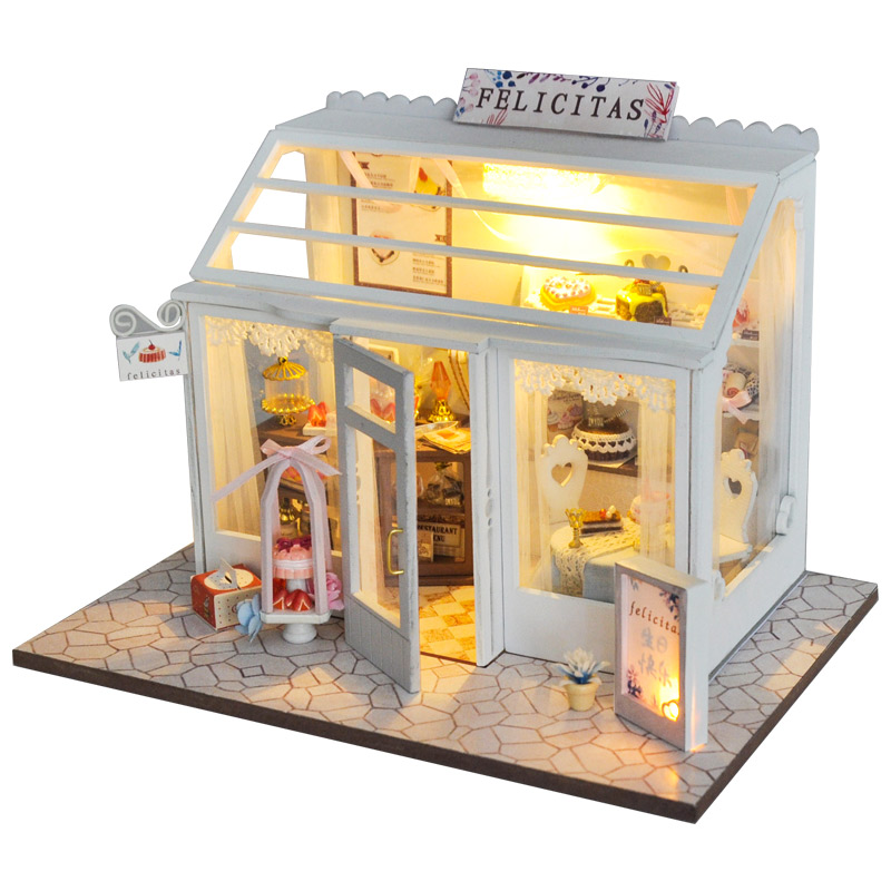 CUTEBEE DIY Doll House Wooden Doll Houses Miniature Dollhouse Furniture Kit Toys For Children Christmas Gift TD25