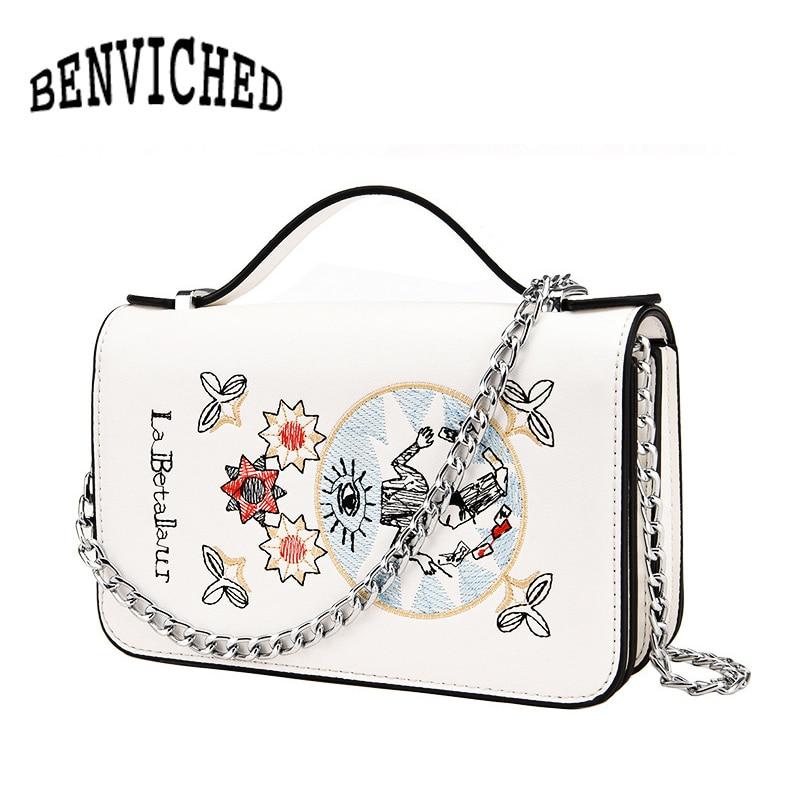 Embroidery Tarot Women Shoulder Bag High Quality PU Leather Crossbody bag Ladies Handbags Mini Flat Messenger Bags bolsas S180 high quality women s handbags