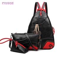 NEW Fashion Vintage Leaf Stitching Shoulder Bag Backpack Three Sets Multifunction Chest Women Leather Backpacks Designers