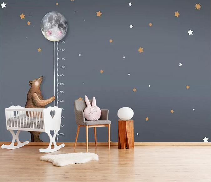 [Self-Adhesive] 3D Bear Moon Starry Sky Child Room 22 Wall Paper Mural Wall Print Decal Wall Murals