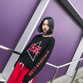 Fashion street personality all-match geometry triangle letter print loose bf thread o-neck long-sleeve pullover sweatshirt