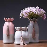 Vase en céramique européen ornements feuille de lotus frangé eau culture vase contracté porcelaine Vases à fleurs cadeau créatif décoration