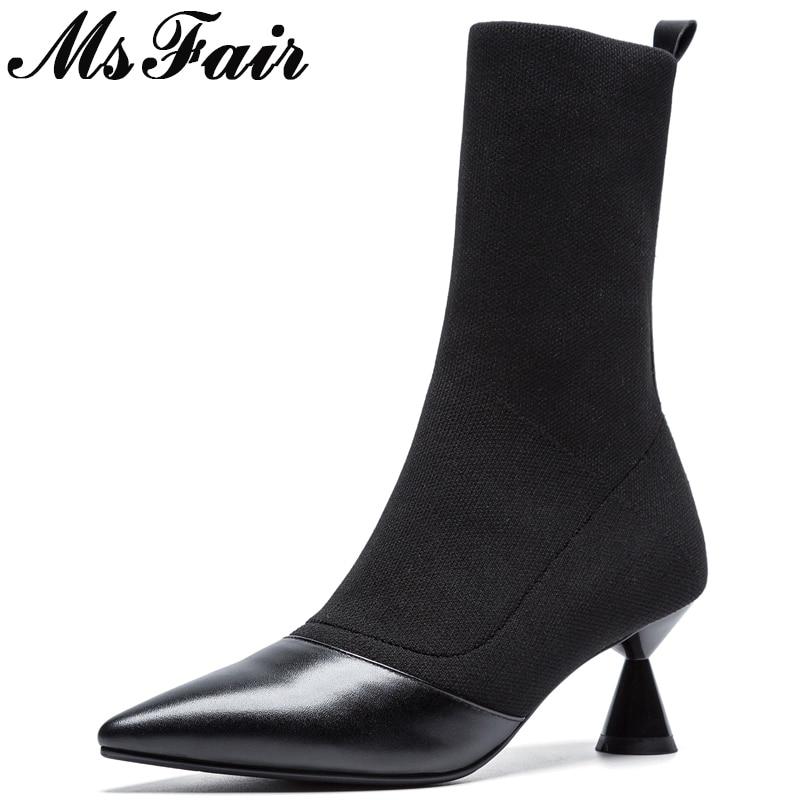 купить MSFAIR Pointed Toe High Heel Women Boots Casual Fashion Mature Concise Mid Calf Boots Women Shoes Strange Style Boots Women по цене 4130.04 рублей