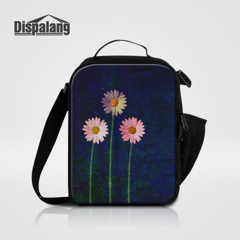 Dispalang Small Lunch Bags For Women Floral Flower Print Insulated Thermal Food Picnic Bags Kids Girls Cooler Lunch Box Tote