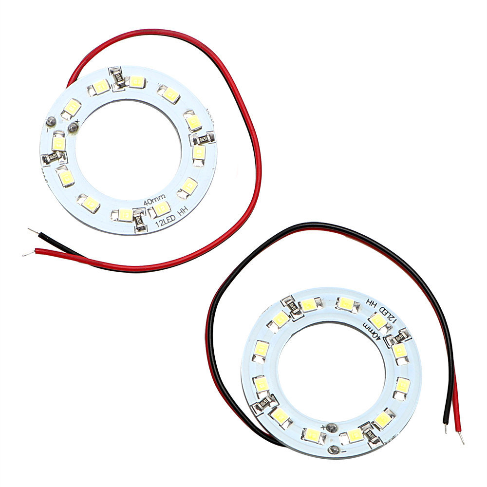Car Headlight DC 12V Car-styling Auto DRL Lamp 40MM Angel Eye Car Light 12SMD 1210 3528 LED Daytime Running Light 2Pcs/Set 2pcs led car headlight light h15 63 smd 2835 drl daytime running light fog lamp bulb pure white 6000k dc 12v 24v