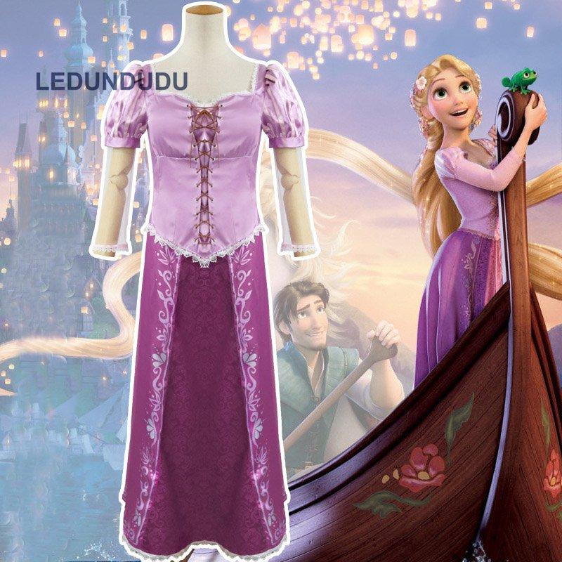 Hot Cartoon Tangled The Princess Rapunzel Dress Women Carnival Party Fancy Dress Adult Costumes for Halloween