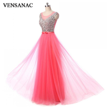 VENSANAC 2018 A Line Sheer O Neck Crystals Long Evening Dresses Elegant Lace Tank Bow Sash Tulle Party Prom Gowns