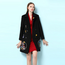 Black Noble Coat Novelty Ladies Turn-down Brand Free Shipping 2016 Autumn Winter Long Sleeve Embroidery Double Breasted Coat