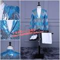 Градиент цвета куртка мужской костюм мужская пром свадебный танец верхняя одежда певица партия Рождество производительности шоу моды тонкий