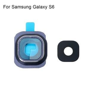 Image 2 - 1 комплект Задняя крышка объектива камеры стеклянная крышка с рамкой держатель для samsung Galaxy S6 запасные части