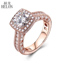 HELON Sold 10k Rose Gold Flawless 7x7mm Cushion 1.5CT White Topaz Full Natural Diamonds Gemstone Engagment Wedding Vintage Ring