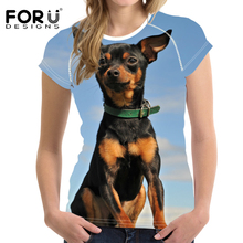 FORUDESIGNS T shirt Women Miniature Pinscher Printing T-shirt Teenagers Funny Dog Pattern Tee Shirt for Females Fashion Tops