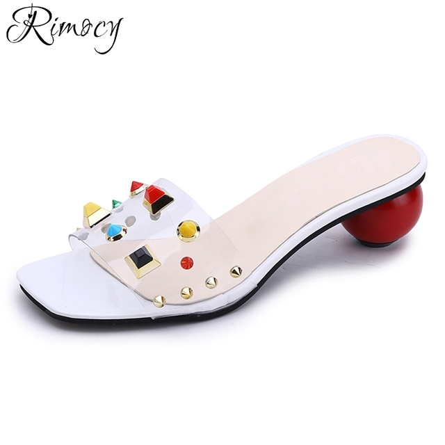 0ac1907f5371f Rimocy red ball bottom cool rivet summer slides women fashion strange heels  slip on sandals casual