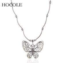 Ethinc Hollowed Butterfly Pendant Necklace Vintage Antique Silver Animal Choker Statement Necklace For Women Party Jewelry Kolye недорго, оригинальная цена