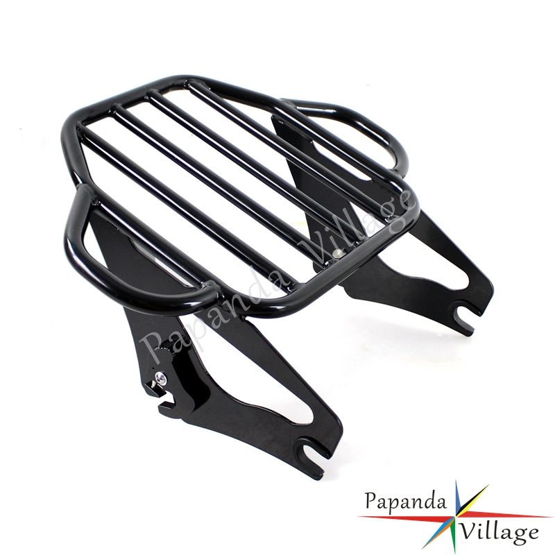 Papanda Steel Black Motorcycle Detachable Two Up Luggage Rack for Harley Touring Road King Street Glide FLHX FLHR FLTR 2009 2016 in Covers Ornamental Mouldings from Automobiles Motorcycles