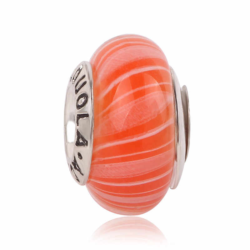 AIFEILI koralik odpowiednia bransoletka wisiorek czerwona elegancka biżuteria europejski urok pasuje Pandora naszyjnik osobowość nowe szkło kolorowe