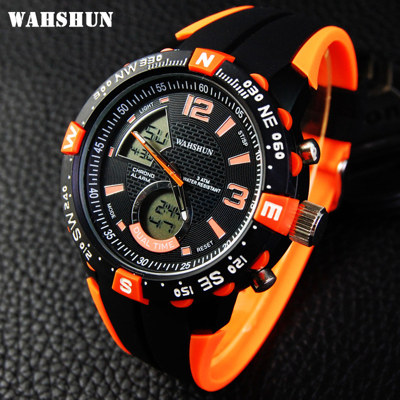 New Brand WAHSHUN Watch Men Military Sports Watches Fashion Silicone Waterproof LED Digital Watch For Men