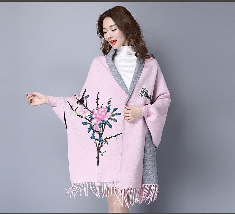 2017 Herbst Mode Plus Größe Stickerei Flügelhülse Poncho Frauen Overlack Floral Mantel Strickjacken Pullover Mit Quaste Reich Und PräChtig