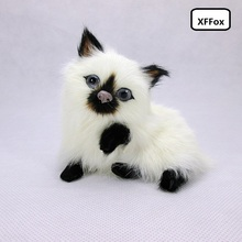 cute real life naughty cat model plastic&furs simulation small cat doll gift about 10x8x9.5cm xf1206