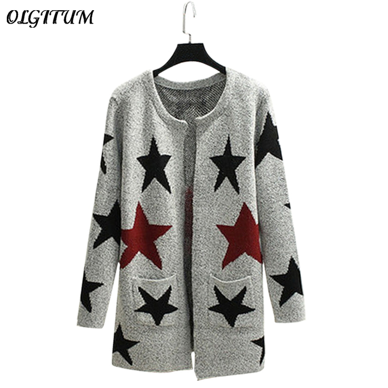 2017 New Autumn Spring Women Sweater Cardigans Casual Warm Long Design Female Knitted Sweater Printed Cardigan