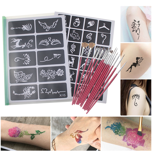 1c4262e6f Airbrush Stencils Templates Brush Set Small Glitter Drawing Tattoo Body  Paint Butterfly Cute Cartoon Makeup Face Paint 446pcs