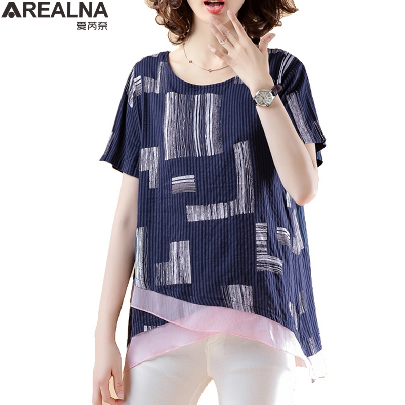 Women Striped   Blouse     Shirt   short Sleeve   Blouse   o-neck   Shirts   Casual Tops   Blouse   et Chemisier Femme Blusas Mujer de Moda 2019