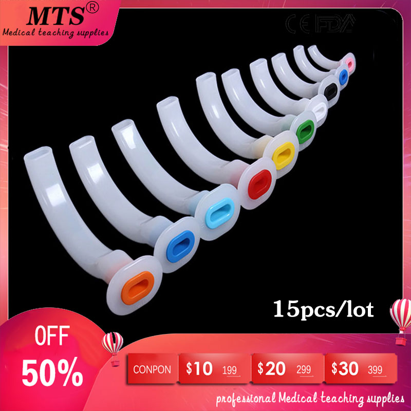 15pcs Anesthesia Guedel Airway Tube Medical Oral Air Way Color Coded Establish A Respiratory Tract For CPR Emergency Patients