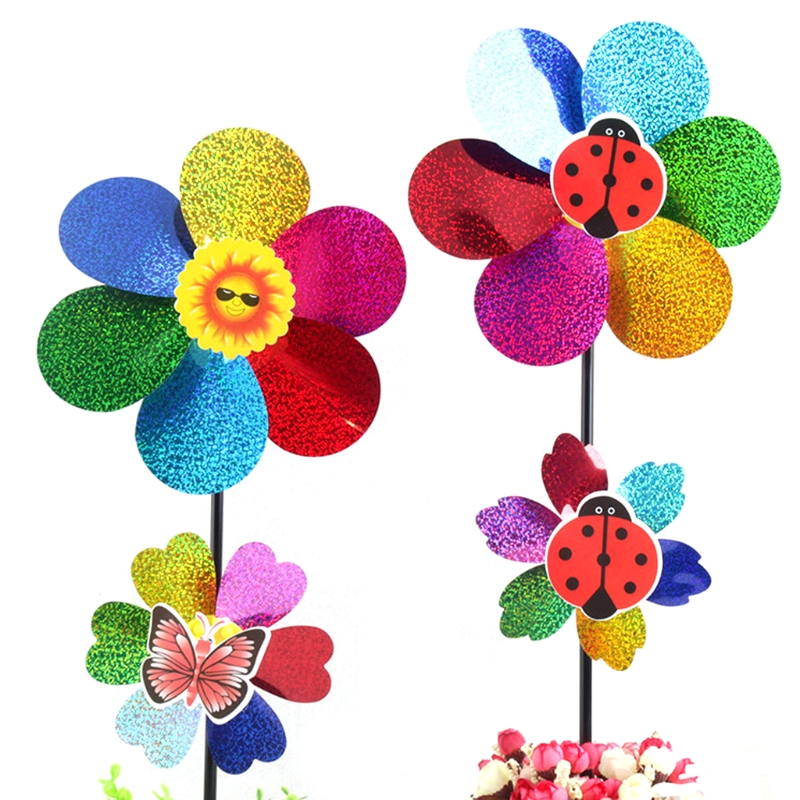 Colorful Sequins Windmill Wind Spinner Home Garden Yard Decos