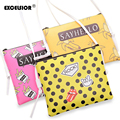 EXCELSIOR2016 Cartoon Graffiti Printed Women PU Leather Handbag Casual Small Crossbody Bag Young Girls Daily Clutches Purses