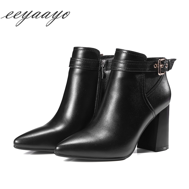 Genuine leather ankle Women boots women shoes 8cm chuncky heel cow leather zip sexy ladies boots belt with buckle pointed toe