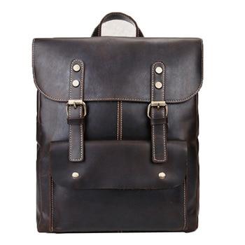 Unisex Genuine Leather Color Rucksack  High quality Vintage Large Capacity Knapsack Computer Backpack trend travel Leather Bag