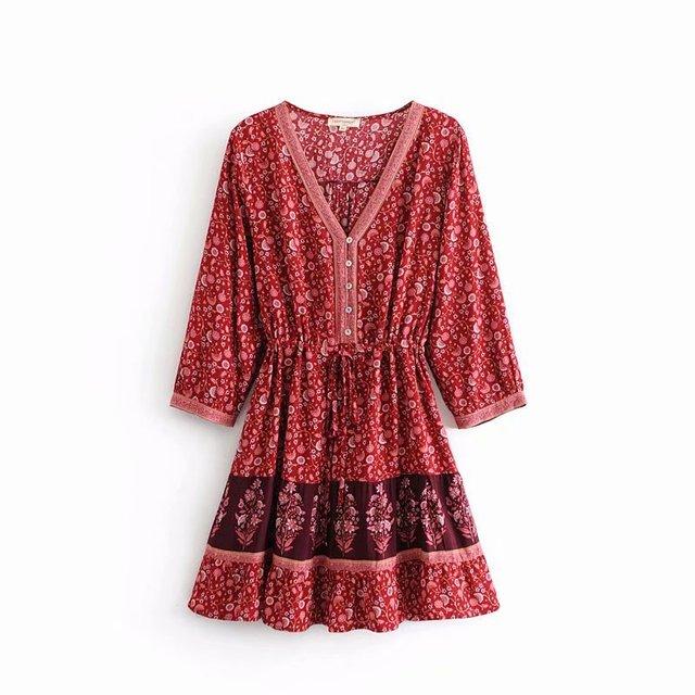 df8652e52e Women Floral print Fashion Red Boho Chic Beach Short dress Summer Bohemian  3 4 sleeve V neck Lace-up Mini dresses  C163