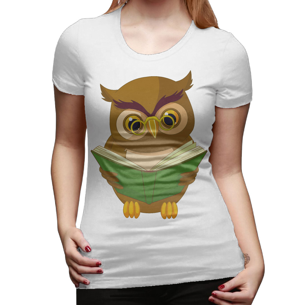 2017 view-full-size-book-clipart-owl Personalized Cotton Printed O-Neck Short Sleeve White Tee shirt Girls Christmas gift