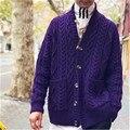 100% ручная работа  чистый шерстяной вязаный мужской однотонный однобортный свитер с отложным воротником