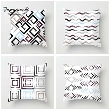 Fuwatacchi Geometric Style Cushion Cover Endless Wave Square Printed Pillow Stripe Decorative Pillows For Sofa Car Seat