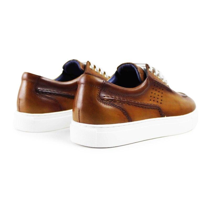 Vikeduo 2019 hecho a mano Vintage Hombre cuero genuino zapato diseñador moda ocio fiesta boda marrón hombres Zapatos casuales Zapatos-in Mocasines from zapatos    3