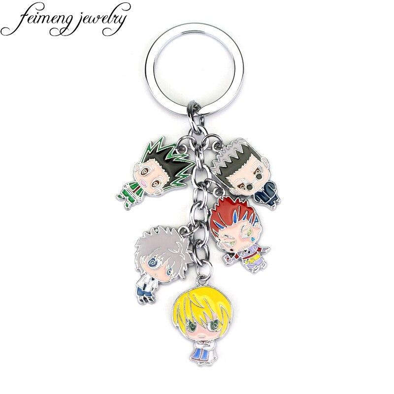 Feimeng bijoux Anime Hunter x Hunter Keychain Gon Killua Zoldyck Kurapika Hisoka Métal Figurines Porte-clés Fahsion Clé De Voiture Chaîne