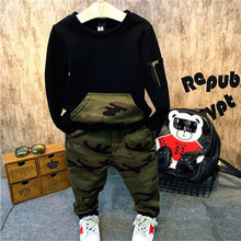 Black Pullover + Camouflage Pant  Clothing Set For 2- 6 Years