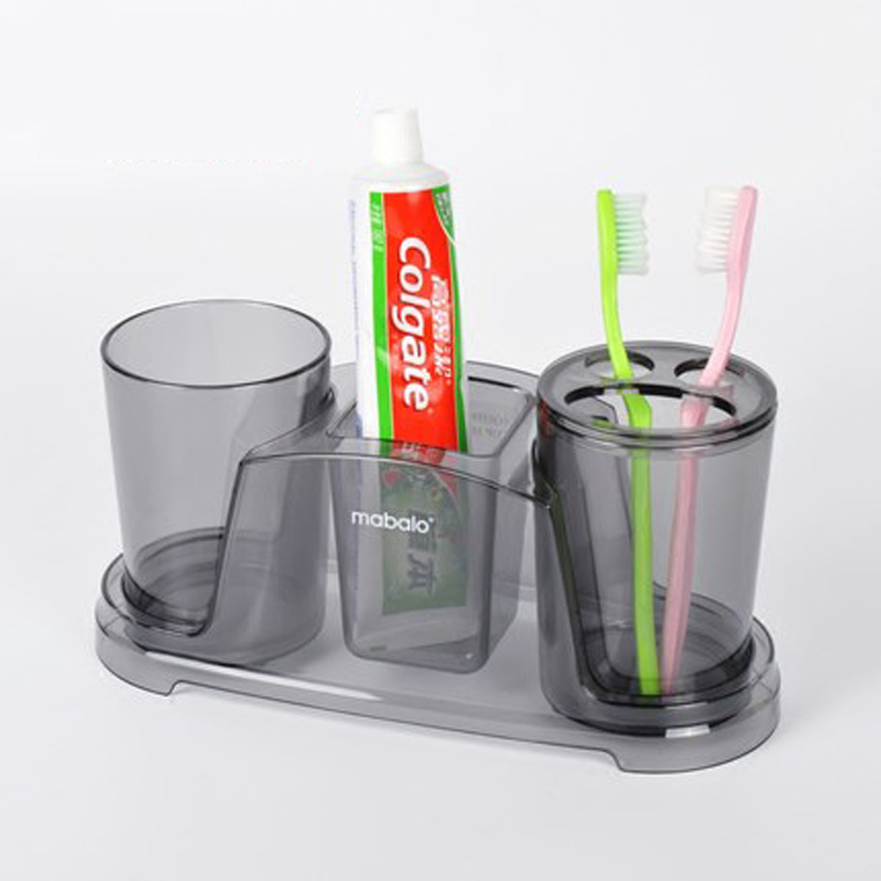 New 3pcs Set Tooth Brush Holder Wash Gargle Suit Tumbler Plastic Bracket Container Bathroom Accessories In Sets From Home Garden