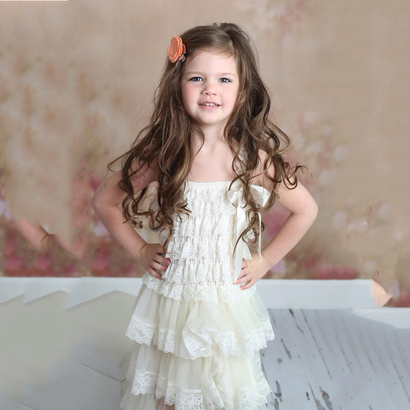 Cute Baby Girl Clothing Pink Flower Girl Dresses Infant Wedding Party Dress Lace Chiffon Dress Toddler Birthday Patry Dress girl
