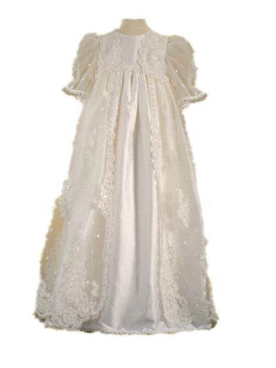2016 Gorgeous Baby Infant Christening Gown Baby Girl Boy Baptism Dress White Ivory 2 Tier Lace Applique Robe 0-24 month 2016 baby infant baptism gown baby girl christening dress white ivory lace applique robe 0 24month