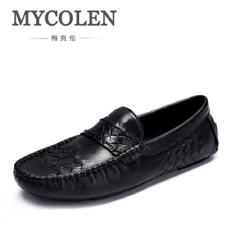 MYCOLEN 2017 New Slip On Casual Men Loafers Spring And Autumn Mens Moccasins Shoes Genuine Leather Men's Flats Shoes Sapato mens casual leather shoes hot sale spring autumn men fashion slip on genuine leather shoes man low top light flats sapatos hot