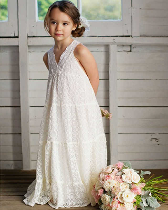 2016 Lace Flower Girls Dresses For Wedding Gowns Straight Girl Birthday Party Dress Sleeveless First Communion Dresses for Girls