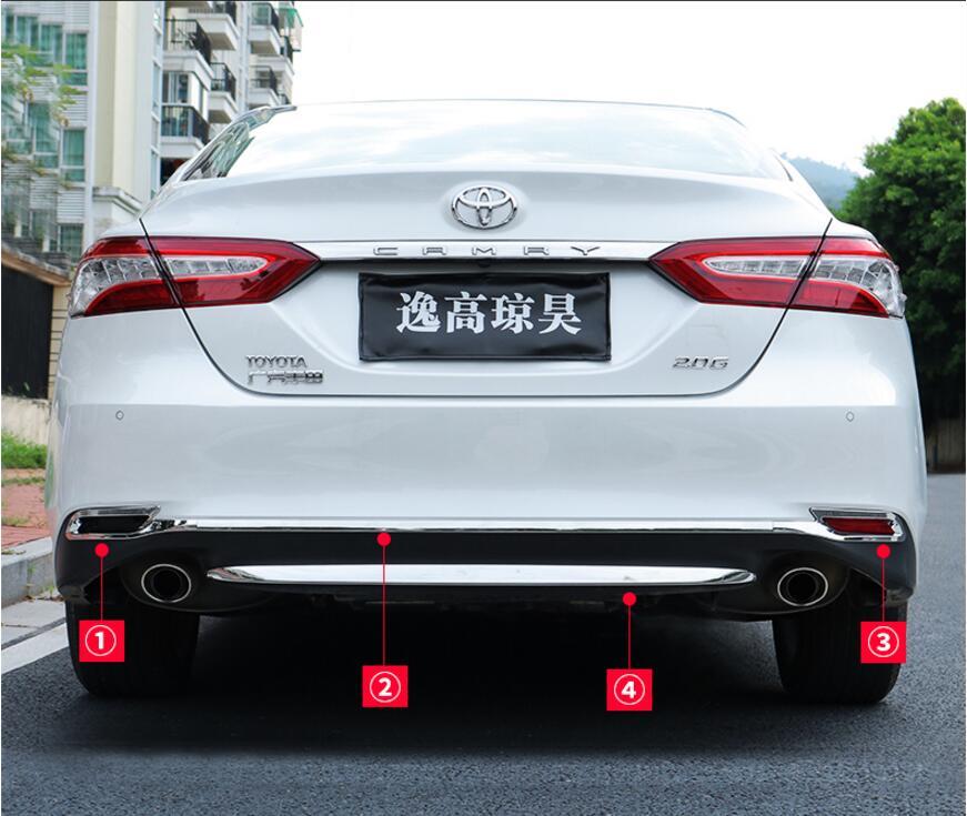 JINGHANG voiture en acier inoxydable porte arrière hayon cadre bas coffre plaque garniture capots adaptés pour Toyota Camry 2018 2019