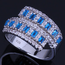 Exquisite Blue Cubic Zirconia White CZ 925 Sterling Silver Ring For Women V0667