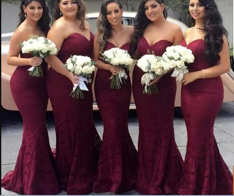 Burgundy 2019   Bridesmaid     Dresses   For Women Mermaid Sweetheart Lace Long Cheap Under 50 Wedding Party   Dresses